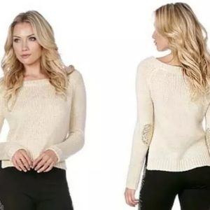Miss Me Cream Gold Sequin Elbow Patch Sweater